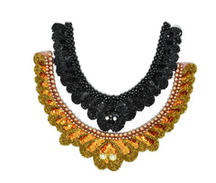 Beaded Applique for Neckline (Orange or Black)
