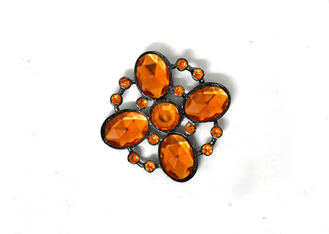 "1 5/8"" Orange Rhinestone Flower Brooch"