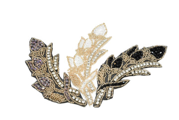 "Leaf Rhinestone & Beaded Applique 6"" x 2"" - 1 Piece"