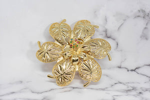 Gold Flower Buckle w/Colorful Rhinestones