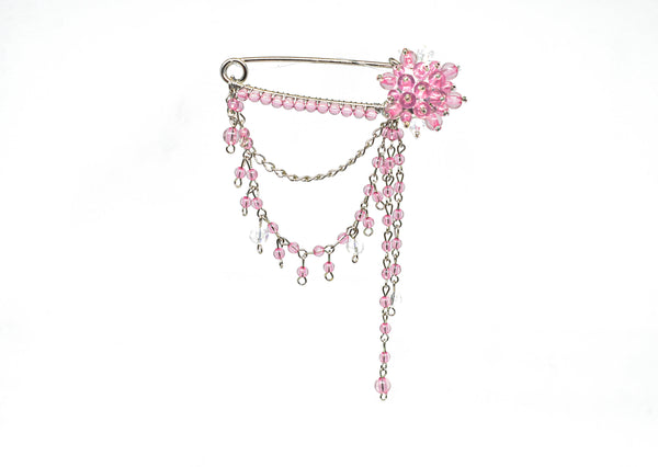 "3 1/4"" x 4 1/4"" Dangling Rhinestone Brooch with Pin"