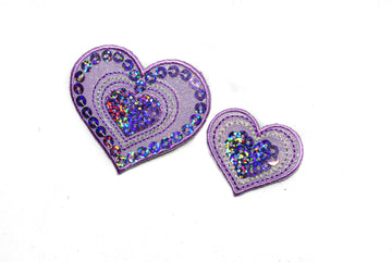 "Sequins Heart and Star Patch Applique 1.75"" or 2.50"" - 1 Piece"
