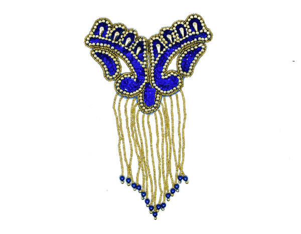 "8.5"" x 5.5""  Black and Gold Beaded Dangling Fringe Applique"