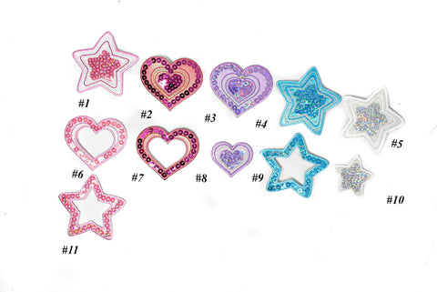 Sequins Heart and Star Patch Applique