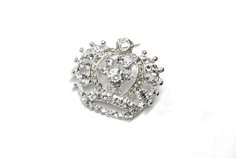 "1 3/4"" x 1 1/2"" Crown Rhinestone Brooch- Design 1"