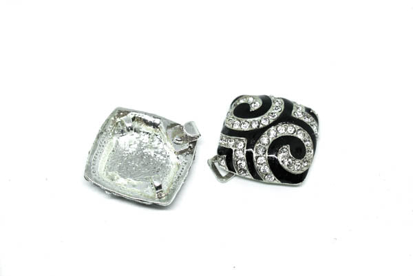 "2"" x 2"" Black and White Rhinestone Connector"