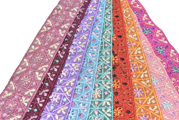 "1 1/4"" Assorted Colorful Embroidered Indian Trim"