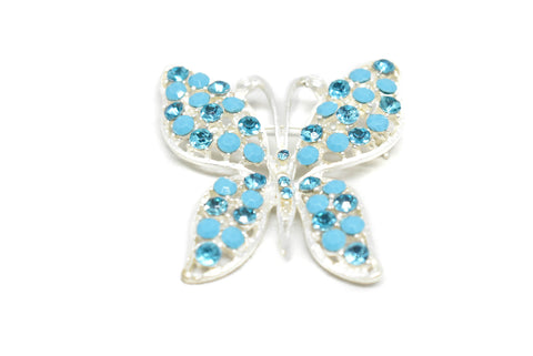"2"" x 1 3/4"" Blue Rhinestone Butterfly with Pin"
