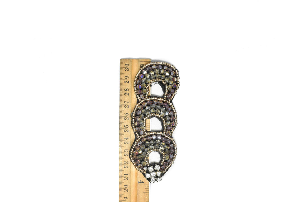 "Triple Loop Rhinestone Patch 3.95"" x 1/2""  - 2 Pieces"