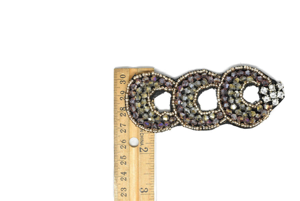 "3.95"" x 1/2"" Triple Loop Rhinestone Patch (2 Pieces)"