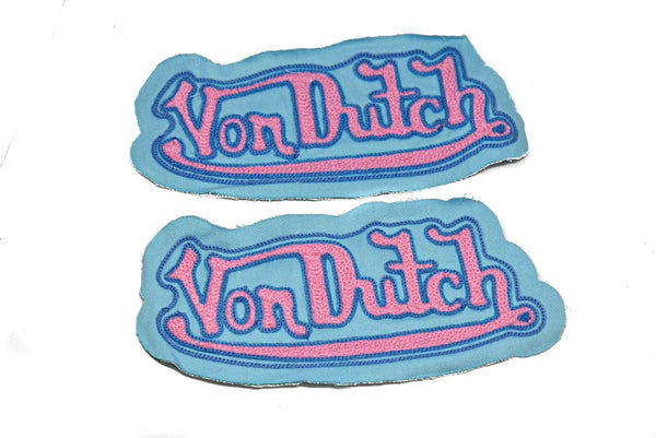 "8.50"" x 3.75"" Pastel Blue Embroided Von Dutch Applique with Pink Lettering"