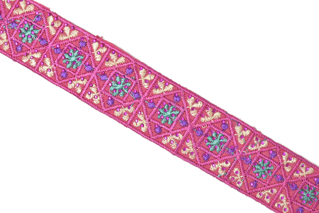 "Assorted Colorful Embroidered Indian Trim 1.25"" -1 Yard"