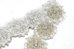 "Rhinestone and Beaded Flower Iron-on Trim 1 1/2"" -10 Yards"