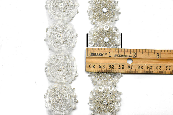 "1 1/2"" Rhinestone and Beaded Flower Iron-on Trim (10 Yards)"