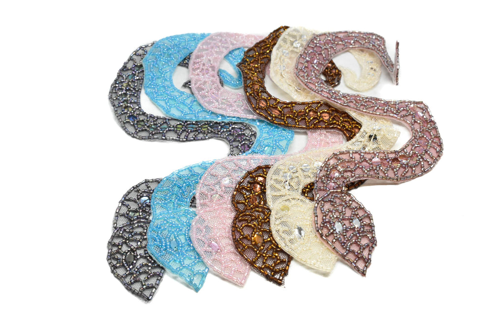 "Beaded Snake Applique with Sequins 10"" x 1 1/2"" - 1 Piece"