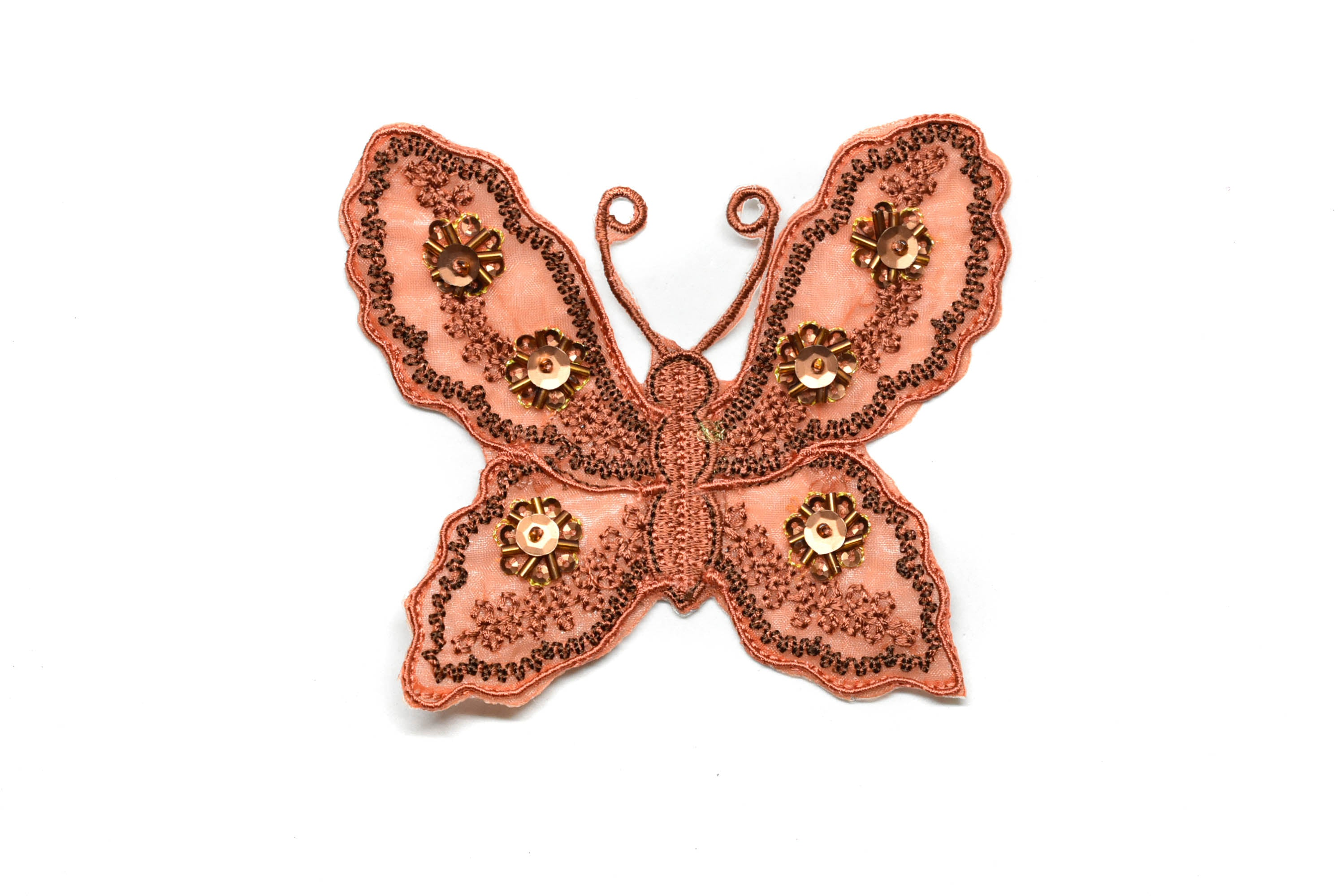"Beaded Sequins Butterfly Applique 4 1/4"" x 3 1/2"" - 1 Piece"