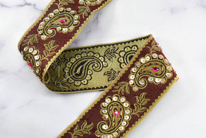 "Paisley Handcrafted Indian Trim | Paisley Sequins Trim | Embroidered Paisley Trim | Embroidered Trim | Paisley Pattern | 2.50"" Indian Trim"
