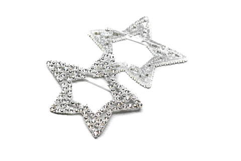 "Rhinestone Star Brooch 3"" x 2.50"" - 1 Piece"
