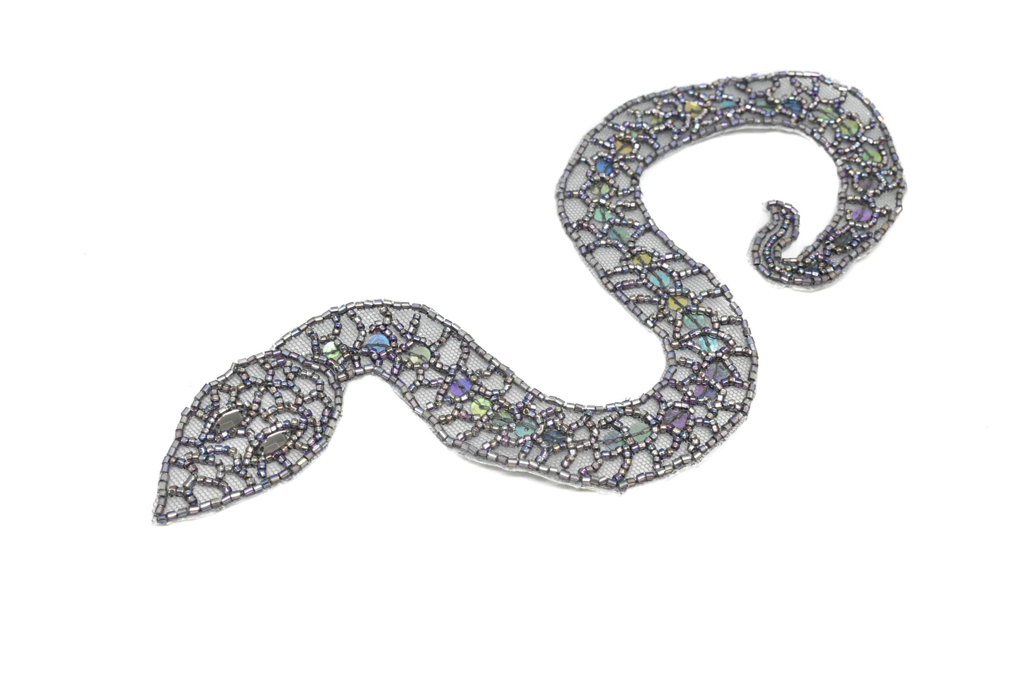 "10"" x 1 1/2"" Beaded Snake Applique with Sequins"
