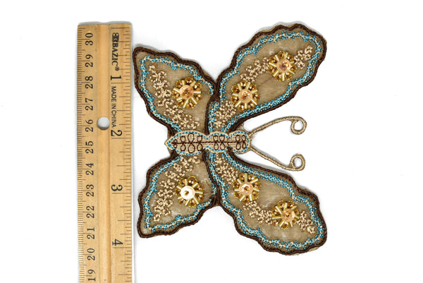 "4 1/4"" x 3 1/2"" Beaded Sequins Butterfly Applique"
