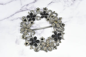 Floral Rhinestone Wreath Buckle