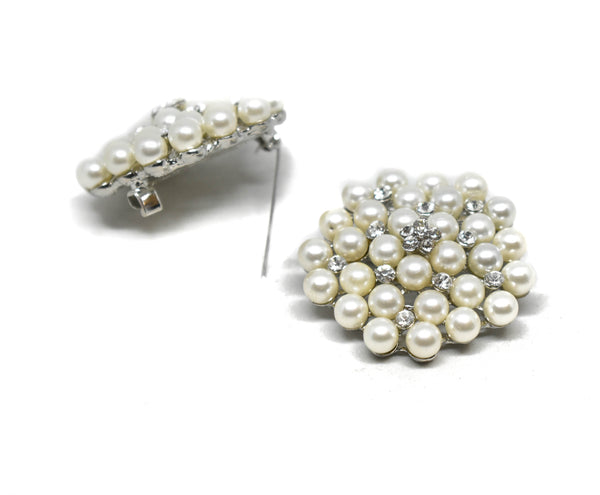 1 3/4'' Silver Pearl Brooch Pin with Crystal Flowers