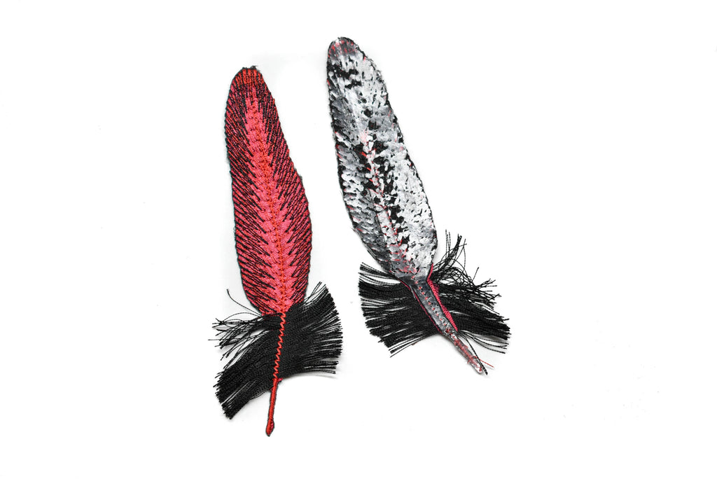 "Red & Black Feather Applique 5"" x 1.50"" - 1 Piece"