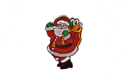"2.5"" x 4"" Santa Claus Embroidered Iron-On Patch Applique- Christmas Patch-Design 1"