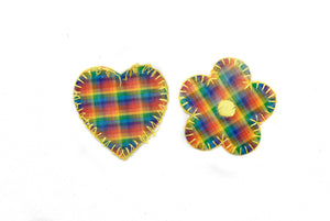 3D Rainbow Heart and Flower Iron-On Patch - 1 Piece