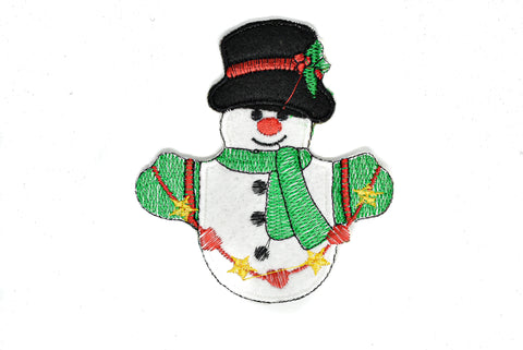 "4"" x 4.5"" Snowman with Christmas Outfit Patch Applique- Iron-on Patch Applique"