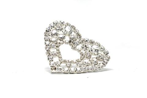 "Rhinestone Heart Brooch with Pin 2"" - 1 Piece"