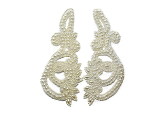 "10"" x 4"" White Pearl Sew-on Applique (Pair)"