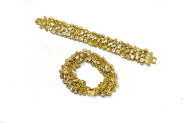 Gold Bracelet with Clear Rhinestones (One-Size)
