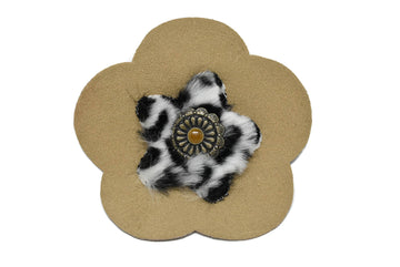"Suede Flower with Charm Applique 3 7/8"" - 1 Piece"