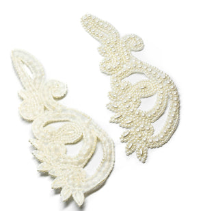 "White Pearl Sew-on Applique 10"" x 4"" (Pair)"