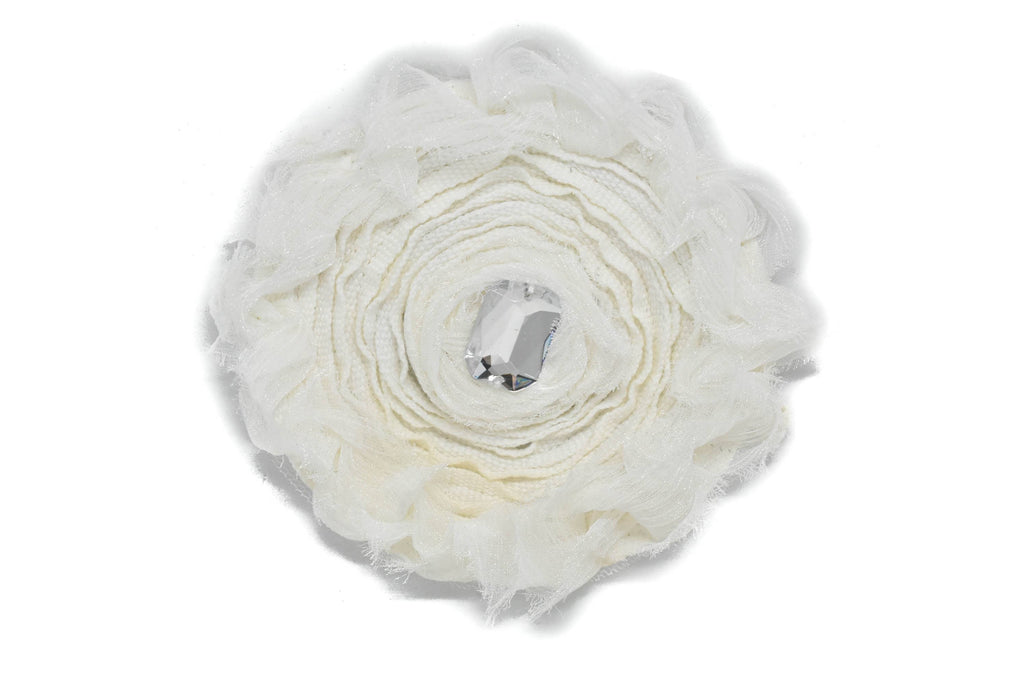 "White Flower with Rhinestone Applique 3 7/8"" - 1 Piece"