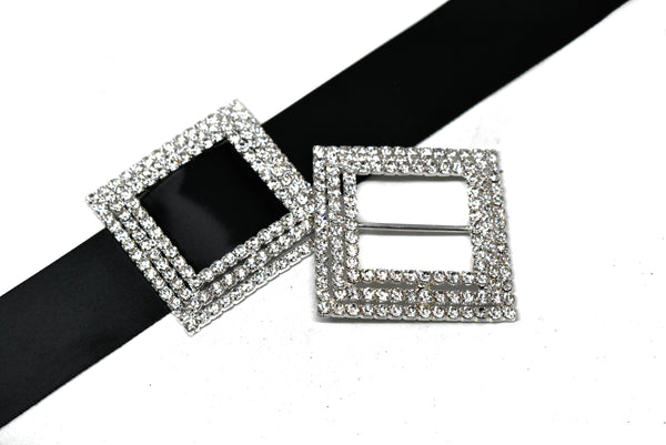 "2 1/4"" Square Rhinestone Ribbon Slider"