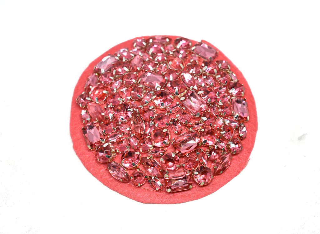 "Circular Applique with Chunky Rhinestones 4"" - 1 Piece"
