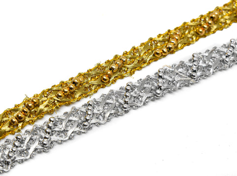 Embellished Metallic Sari Ribbon Trim
