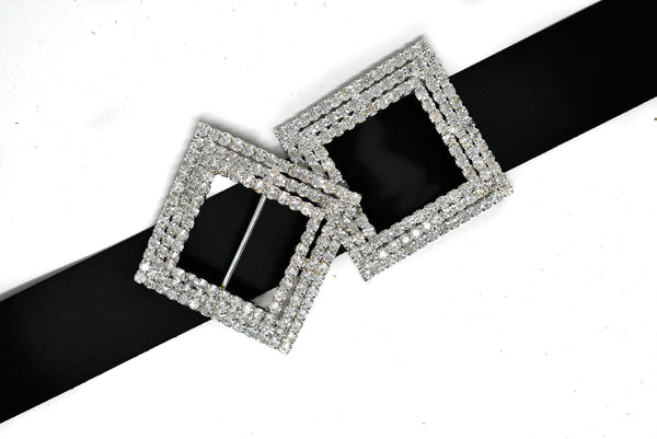 "2 1/4"" Square Rhinestone Ribbon Slider- Square Rhinestone Buckle"