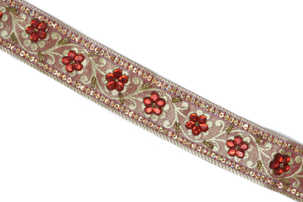 "1"" Sequins Embroidered Floral Indian Trim"