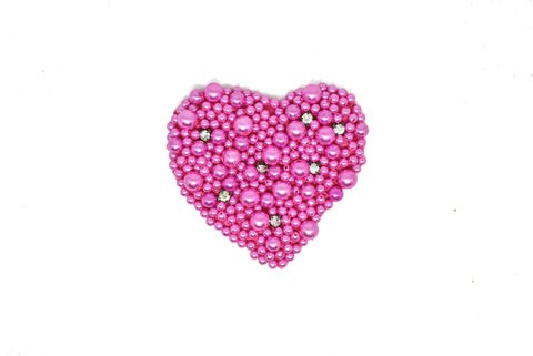 "4"" x 3.5"" Pink and Rhinestone Pearl Heart Applique"
