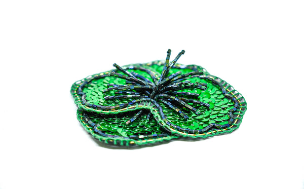 "3.5"" Sequins flower Patch with Dangling Bugle Beads"