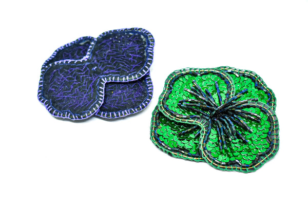 "3.5"" Sequins flower Patch with Dangling Bugle Beads (5 Colors Available)"