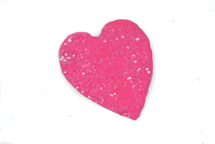 "Pink Sequins Heart Applique 4.5"" x 5"" - 1 Piece"