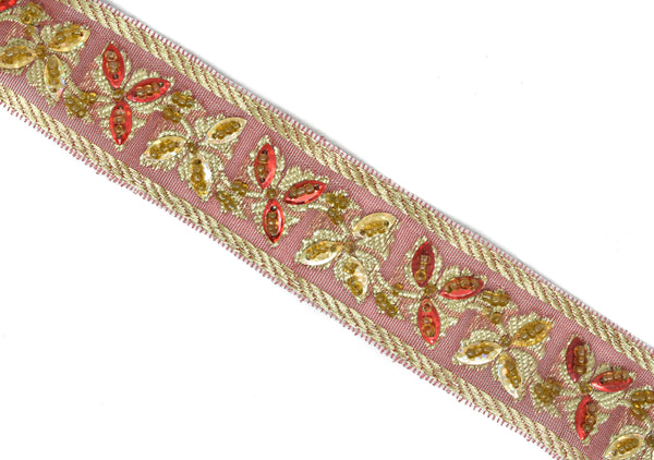 "1 1/4"" Red Sequins Beaded Embroidered Floral Indian Trim"
