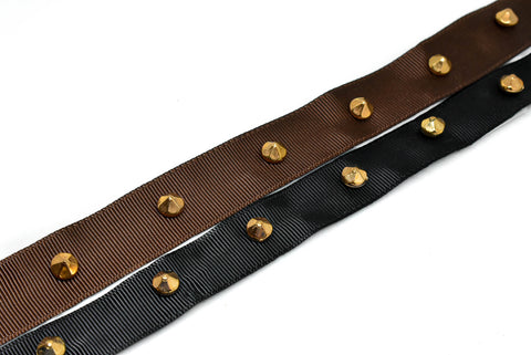 "7/8"" Studded Grosgrain Ribbon Available in Brown or Black"