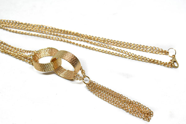 Gold Necklace with Rings and Dangling Chain