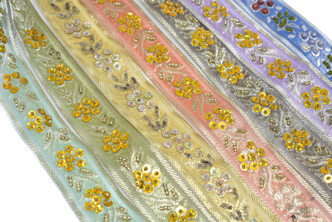 "1 1/4"" Sequins Beaded Embroidered Floral Indian Trim"
