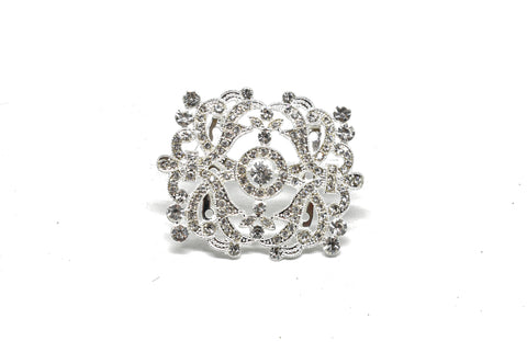 3'' x 2.5'' Crystal Rhinestone Unique-Shaped Brooch